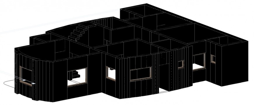 Single family residential house 3d model cad drawing details dwg file