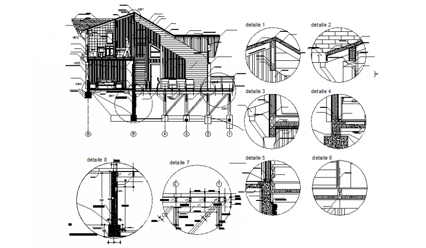 Single family roof house facade constructive sectional details dwg file