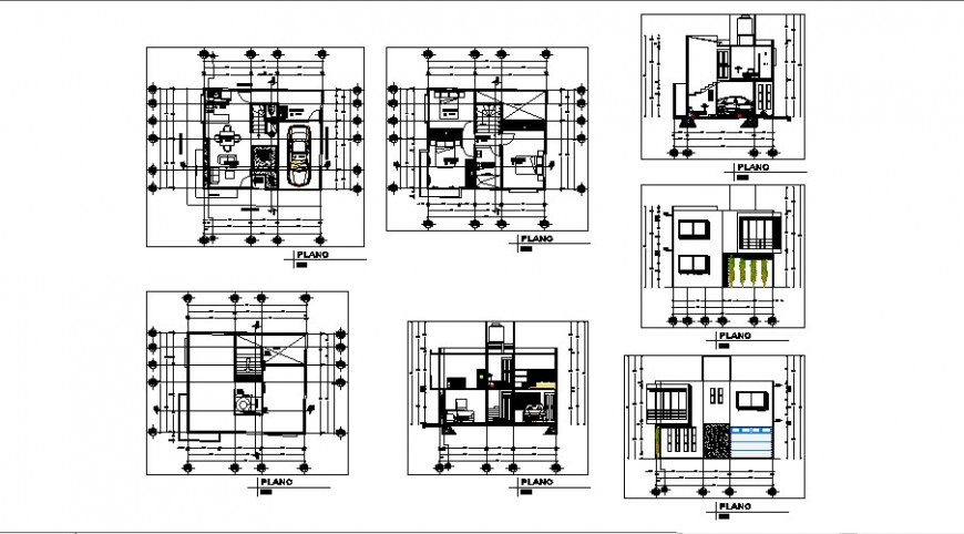 Single family two flooring house elevation, section and floor plan details dwg file