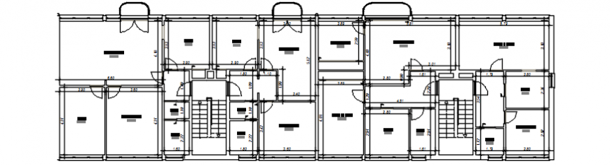 Single floor distribution plan drawing details for apartment building dwg file