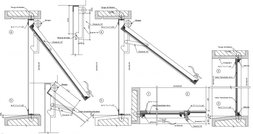 Single house window elevation and installation drawing details dwg file