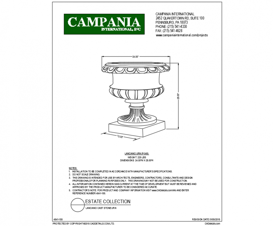 Single lanciano urn planter cad block design dwg file
