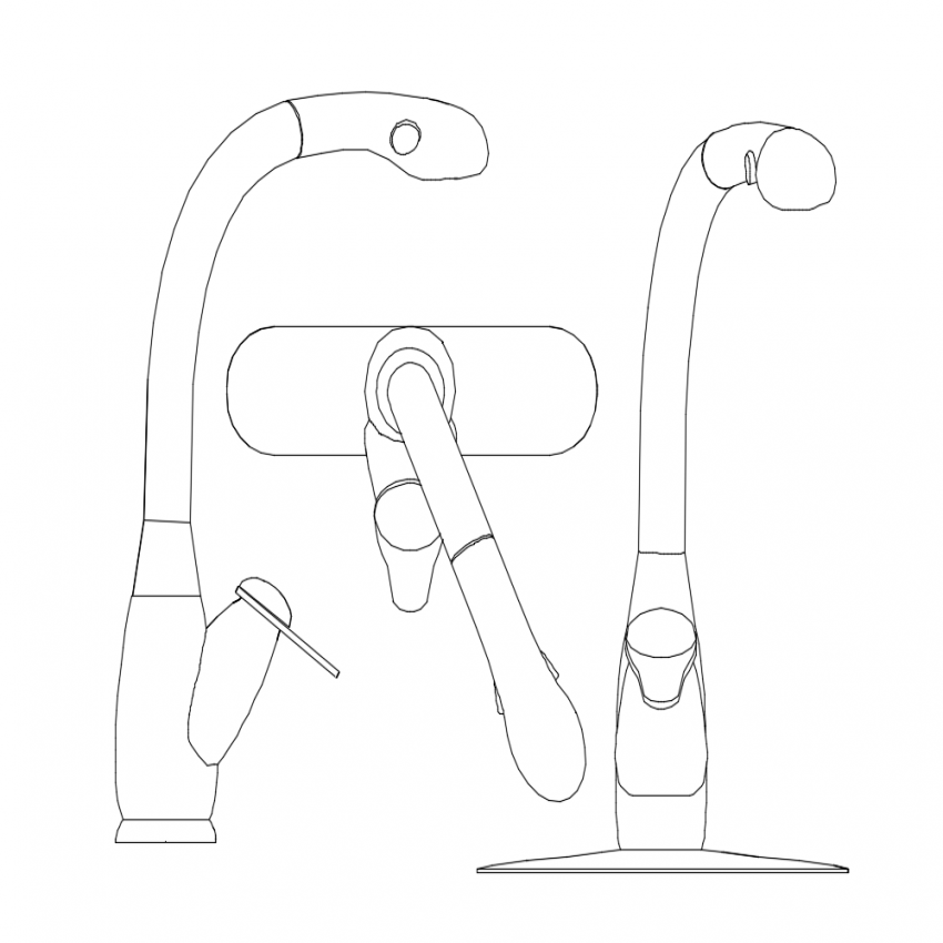 Single leaver mixer tap plan and elevation dwg file