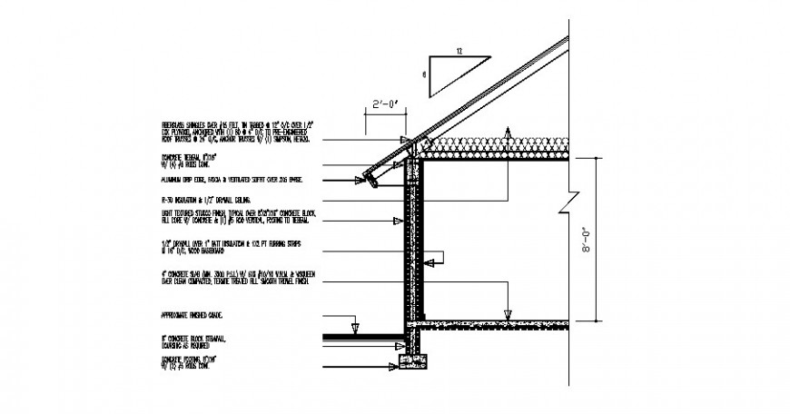 Single level house cut constructive section drawing details dwg file