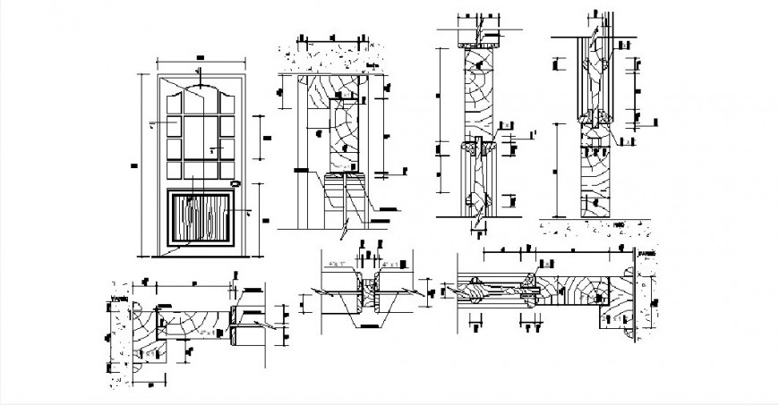Single main door elevation and installation cad drawing details dwg file