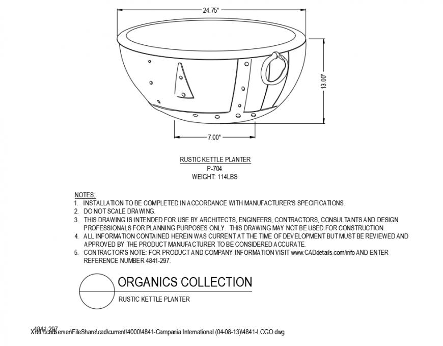 Single rustic kettle planter cad block design dwg file