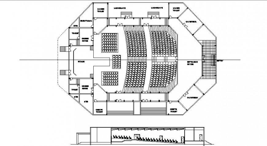 Single screen theater plan and elevation detail drawing in dwg AutoCAD file.