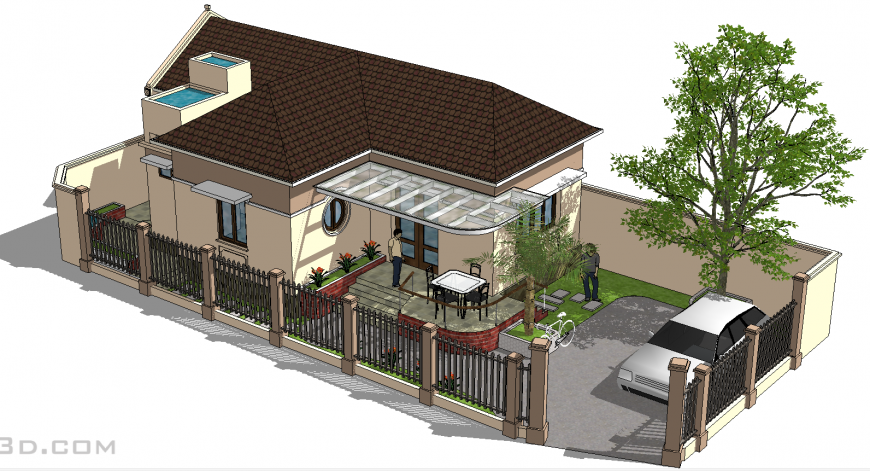 Single storey house design 3d drawing in skp file.