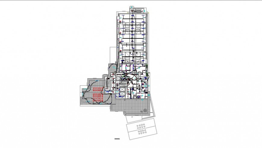 Single story building plan and electrical installation 2d view layout file in dwg format