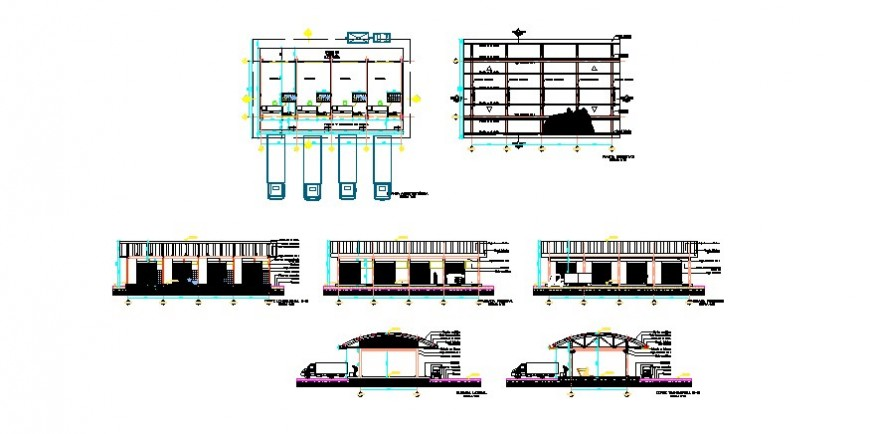 Single story godown building plan and elevation 2d view layout autocad file