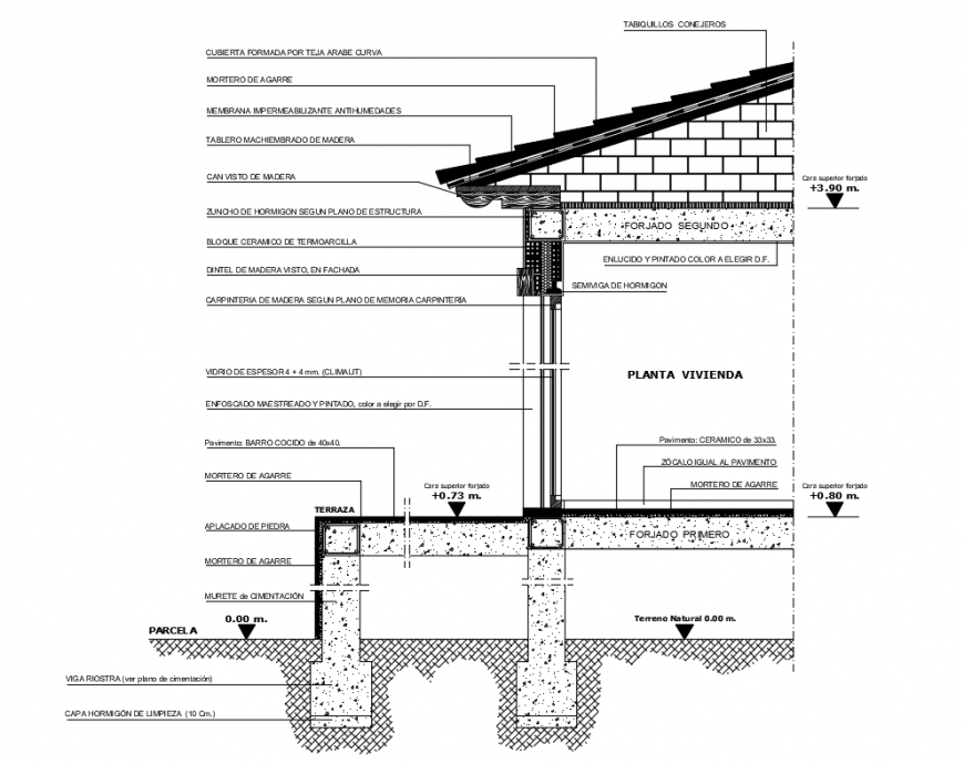 Single story house constructive sectional details dwg file
