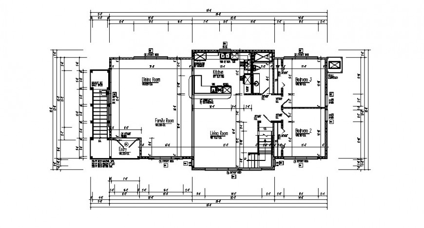 Single story house detail working plan layout file in dwg format