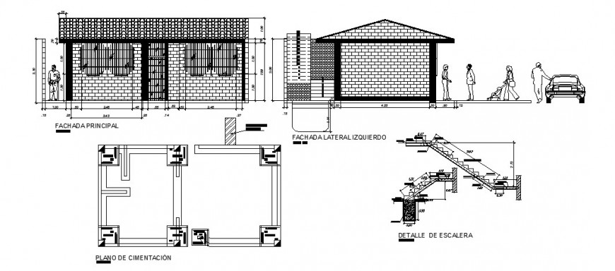 Single story house elevation, foundation plan and staircase details dwg file
