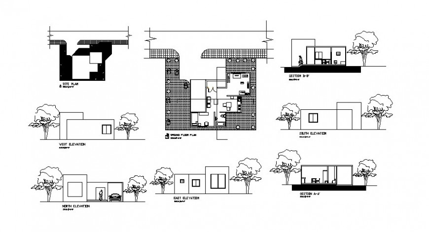 Single story house elevation, section, plan, site plan and auto-cad drawing details dwg file