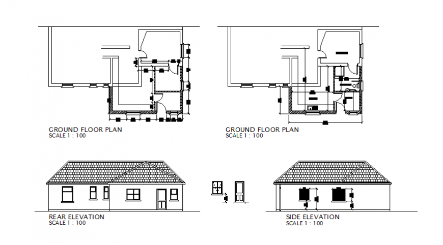 Single story house elevation and ground floor plan details dwg file