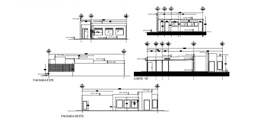 Single story House elevation and section detail 2d view CAD block dwg file