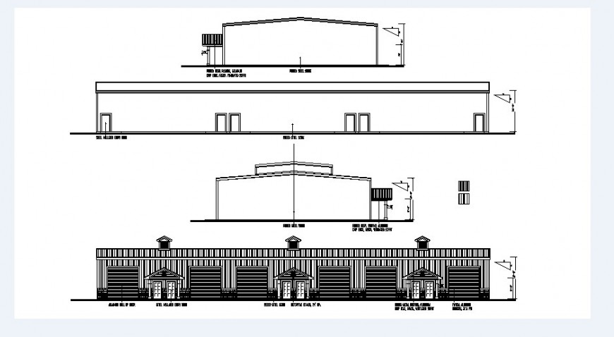 Single story house elevation and sections drawing details dwg file