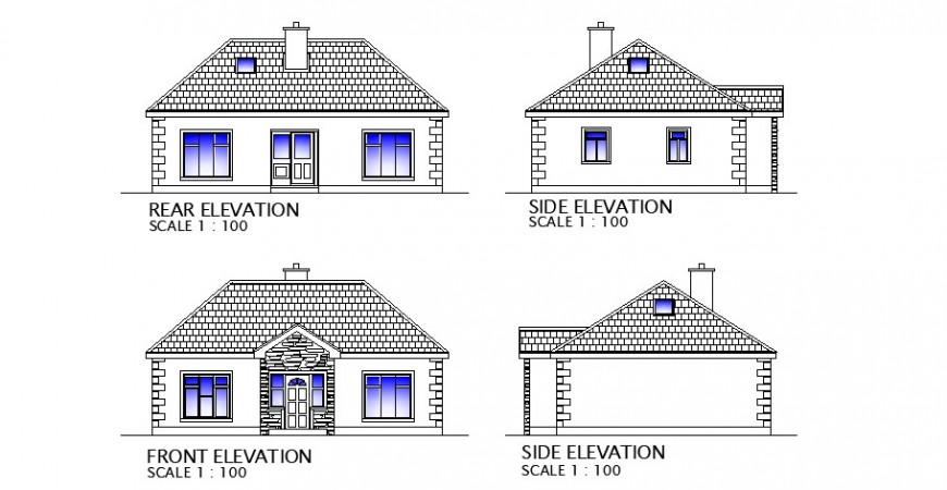 Single story house front, rear and side elevation cad drawing details dwg file
