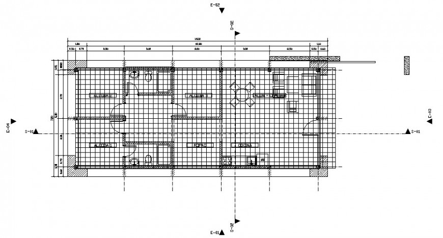Single story house plan 2d view work plan details in autocad