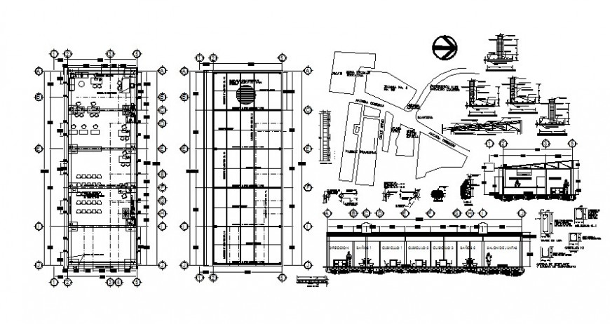 Single story office building work plan and section drawing in autocad