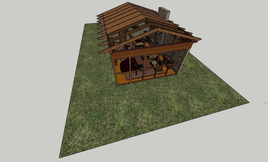 Single story residential house drawings details in sketch-up software