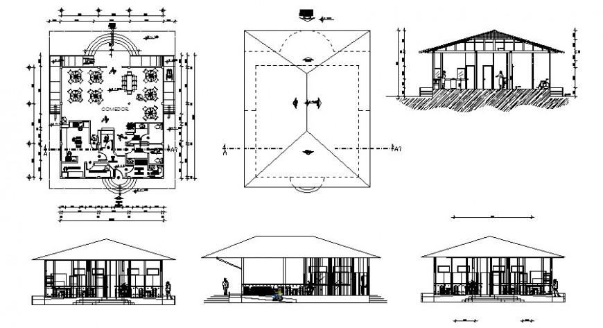 Single story restaurant building plan 2d view autocad file