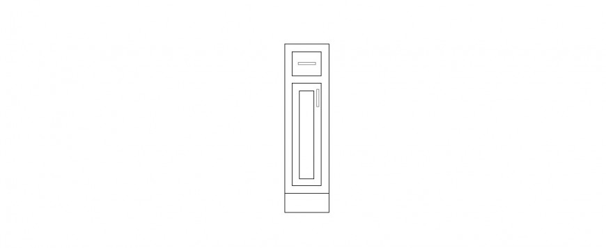 Single thin door elevation block cad drawing details dwg file
