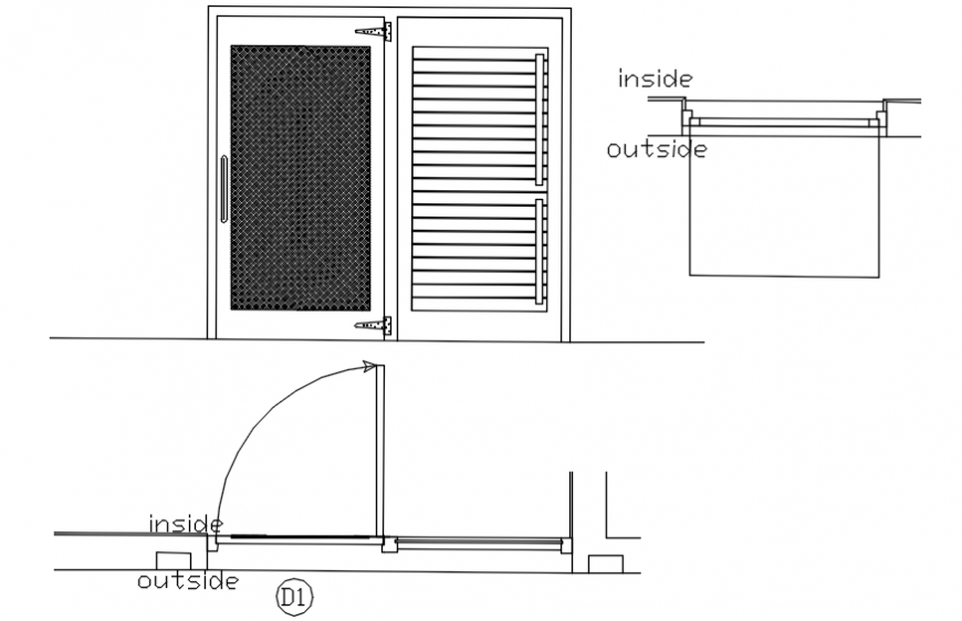 Single window elevation and installation details dwg file