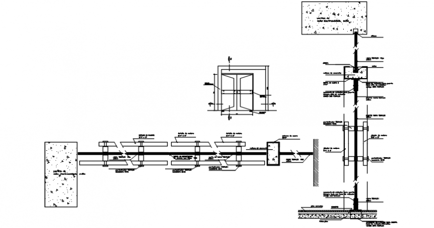Single window framing and installation drawing details dwg file