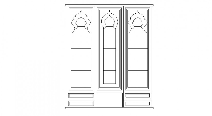 Single wooden window elevation 2d block drawing details dwg file