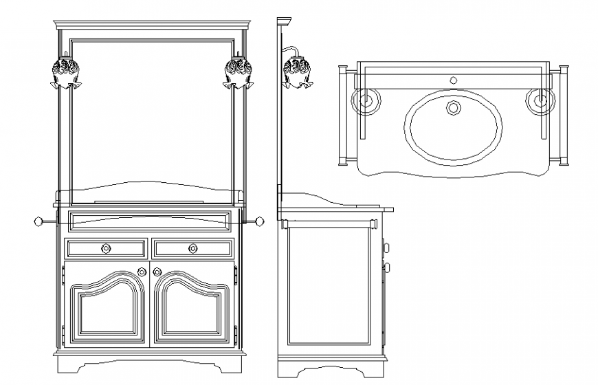 Sink and dressing table furniture detail dwg file