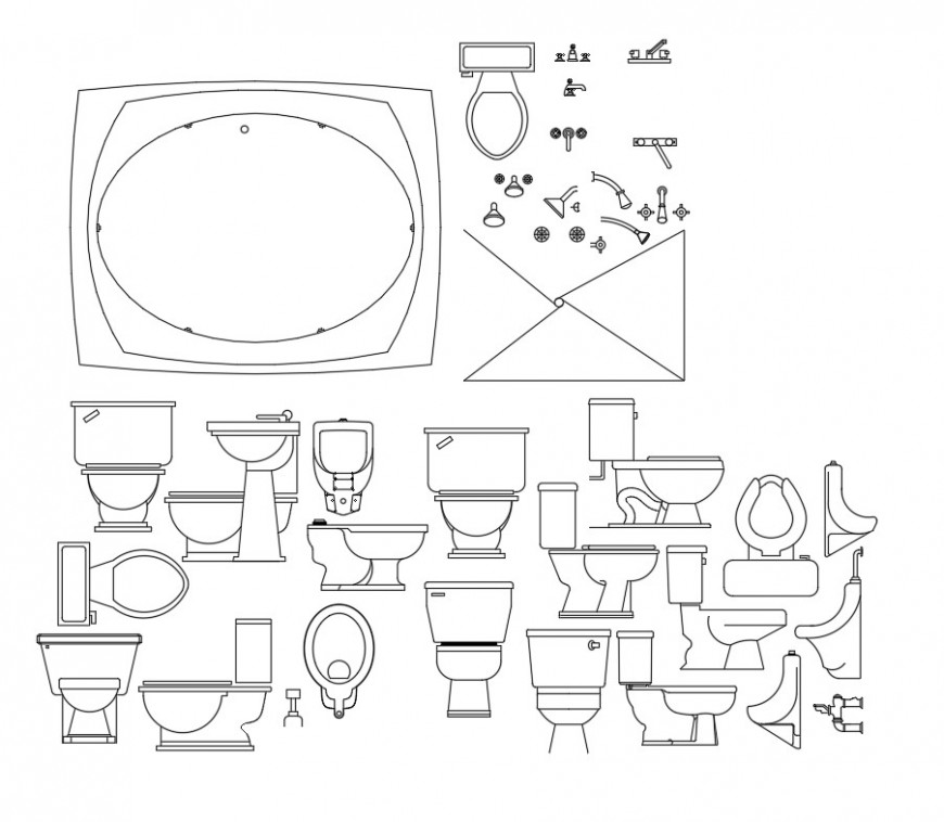 Sink and other sanitary blocks elevation layout file