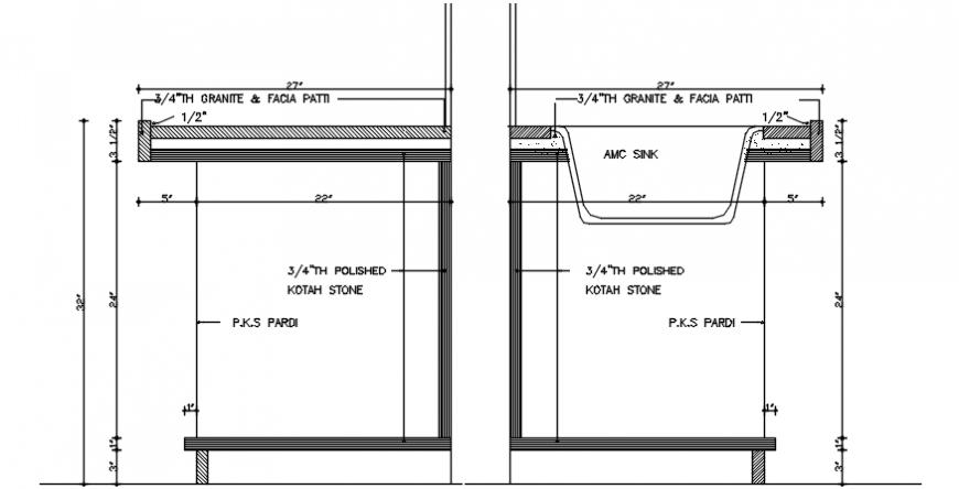 Sink stone platform sectional detail file