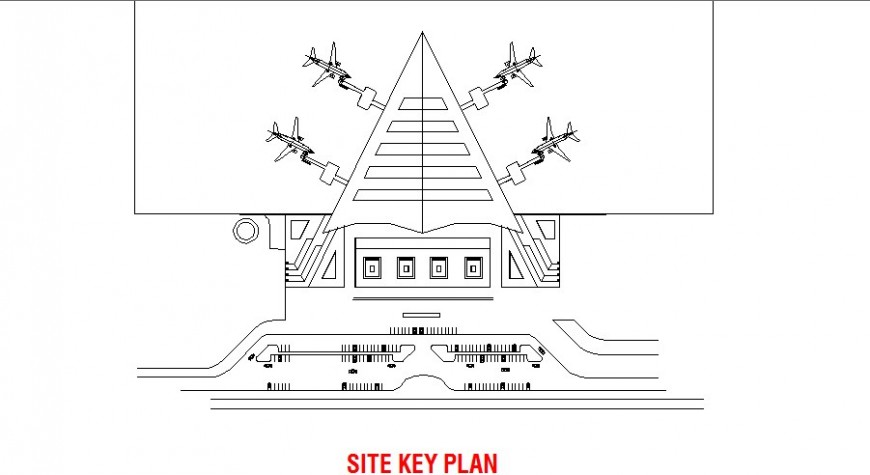 Site key layout plan of airport terminal cad drawing details dwg file