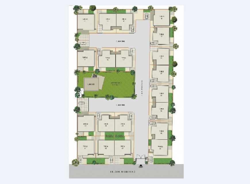 Site layout plan and distribution details of multiple residential 3d houses jpg file