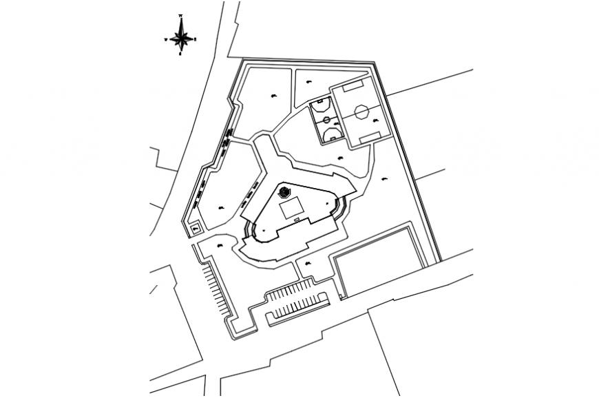 Site layout plan drawing details of fine art school dwg file