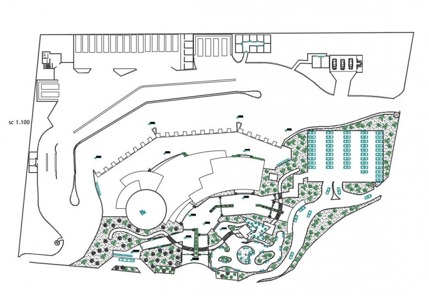 Site plan and distribution plan details of culture center dwg file