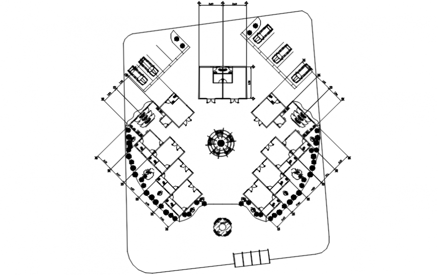 Site plan and landscaping structure details of shopping and commercial building dwg file