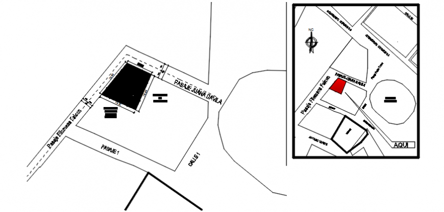 Site plan and location map details of apartment building dwg file