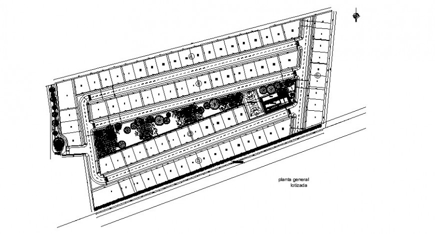 Site plan and plotting details of residential urban houses dwg file