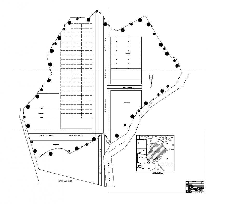 Site plan detail layout 2d view autocad file