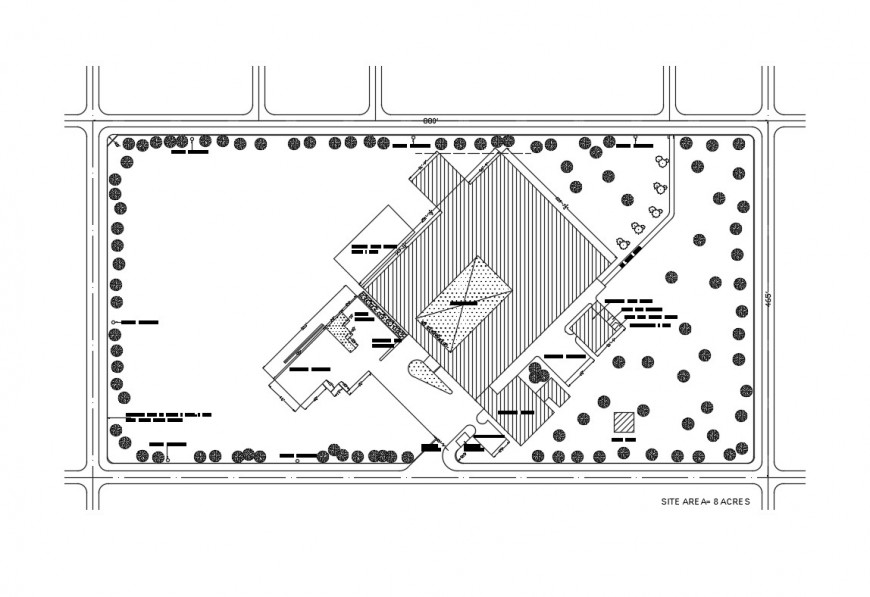 Site plan details of architecture college building dwg file