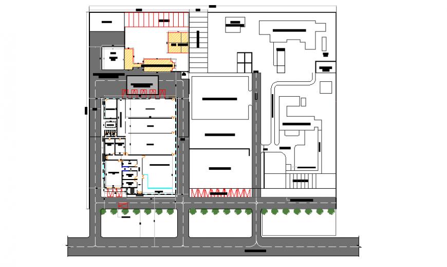 Site plan layout of modern chiken slaughter house design drawing