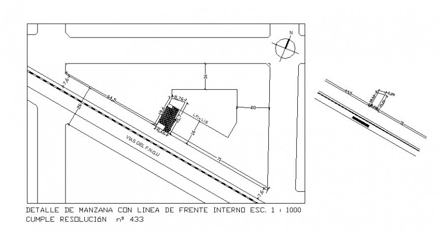 Site plan of area details is provided in autocad