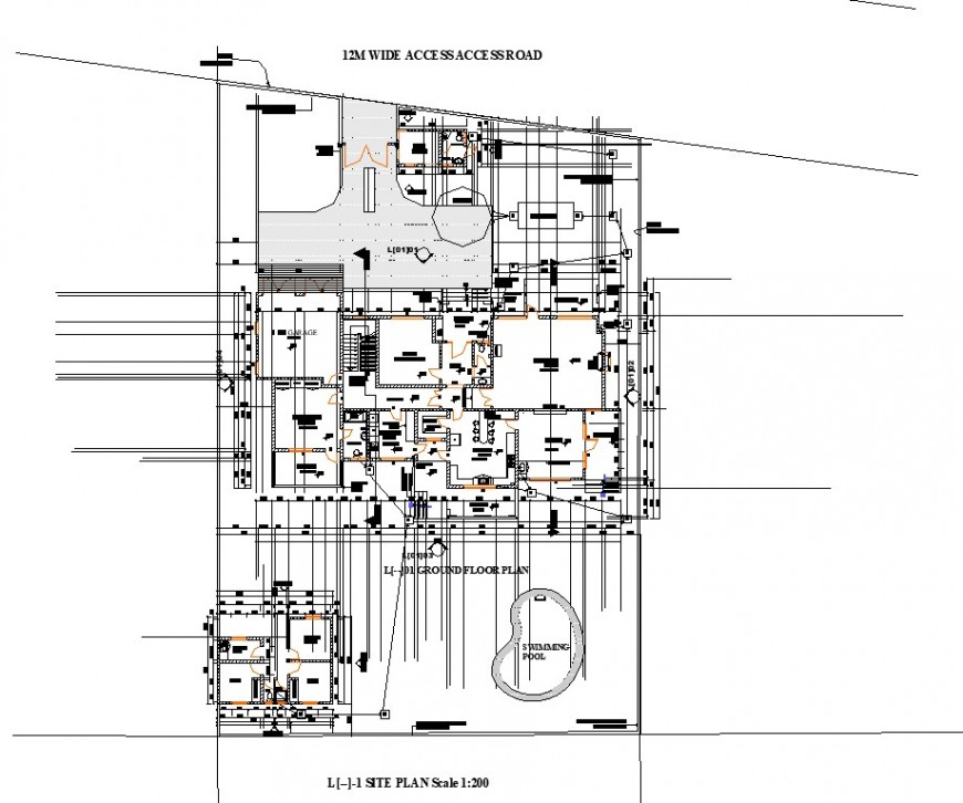 Site plan of bungalow building structure 2d view layout file in autocad format