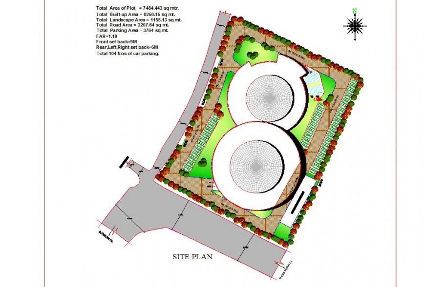 Site plan of multiplex theater building detail 2d view CAD block autocad file