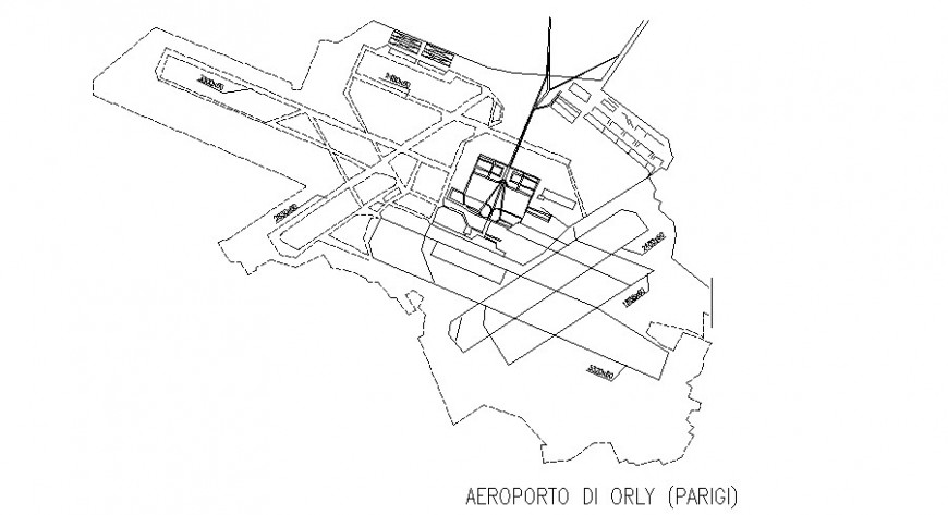 Site plan of the airport drawing in dwg AutoCAD file.
