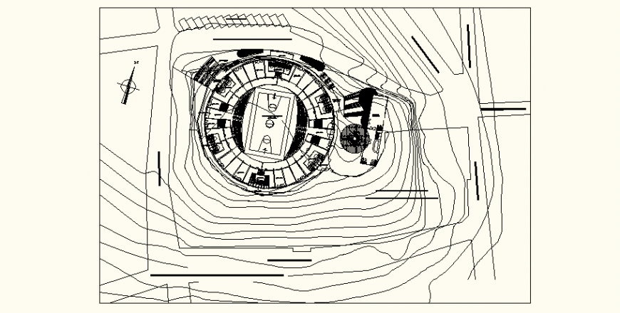 Site plan of the football stadium in dwg AutoCAD file.