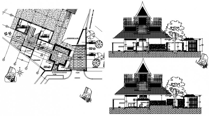 site plan with elevation design cad files