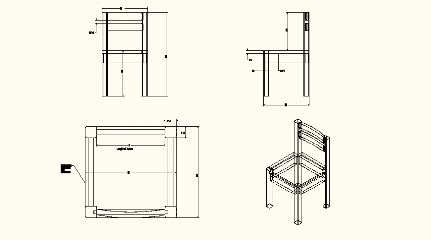 Sitting chair detail plan and elevation autocad file
